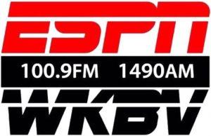 ESPN 1490 WKBV 100.9 logo